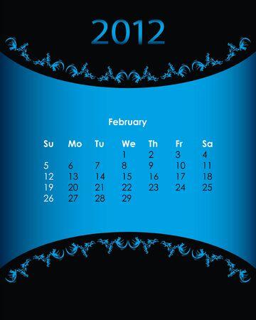 vintage calendar for 2012, february Vector