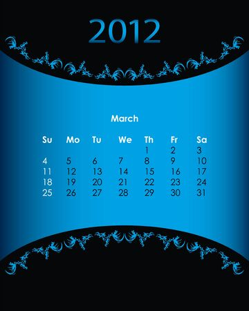vintage calendar for 2012, march Vector