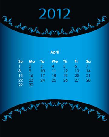 vintage calendar for 2012, april Stock Vector - 11092144