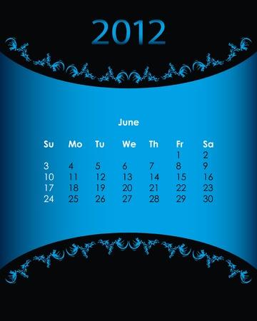 vintage calendar for 2012, june Stock Vector - 11092150