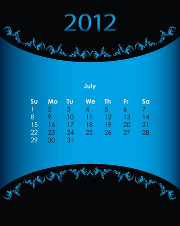 vintage calendar for 2012, july Vector