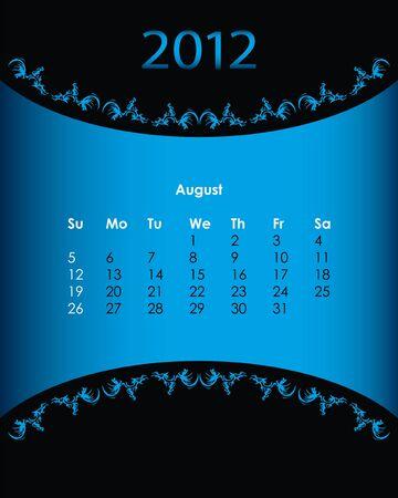 vintage calendar for 2012, august Stock Vector - 11092152