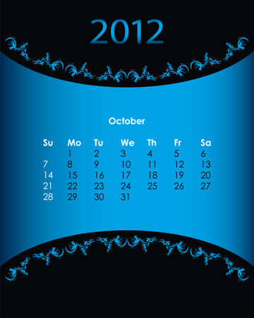 vintage calendar for 2012, october Vector
