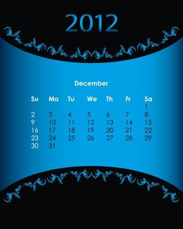 vintage calendar for 2012, december Vector