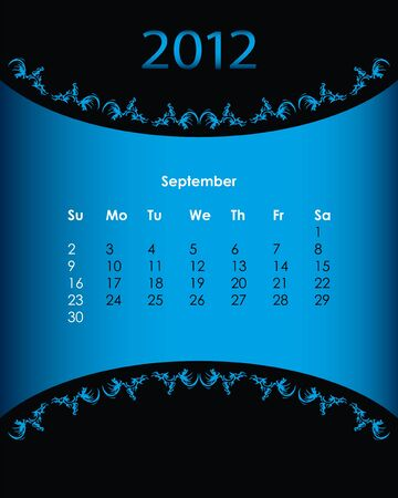 vintage calendar for 2012, september Stock Vector - 11092154