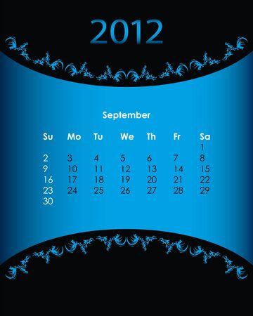 vintage calendar for 2012, september Stock Vector - 11092154