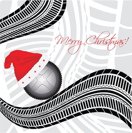 tire cover: special Christmas background with tire design  Illustration