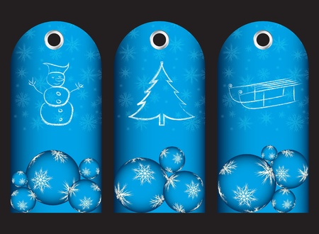 special blue price tags with christmas design Vector