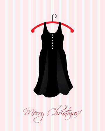 ankleiden: Weihnachtskarte mit einem speziellen schwarzen Kleid Illustration