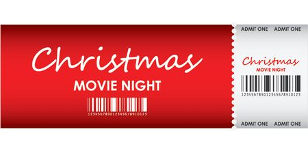 special red ticket for Christmas movie night Vector