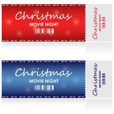 christmas movies: Special tickets for Christmas movie night Illustration