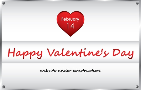under construction background with valentines day design Vector