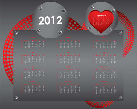 special calendar for 2012 with valentine design Vector