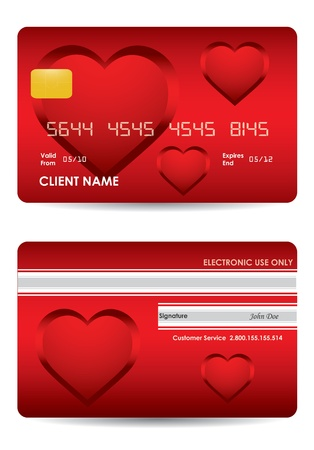 visa credit card: special red credit card with valentines day design