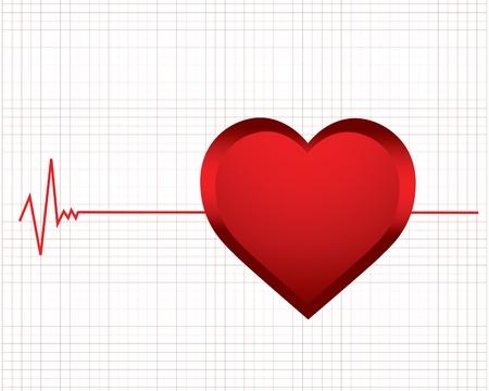 electrocardiograma: vector de fondo con un monitor de ritmo cardíaco