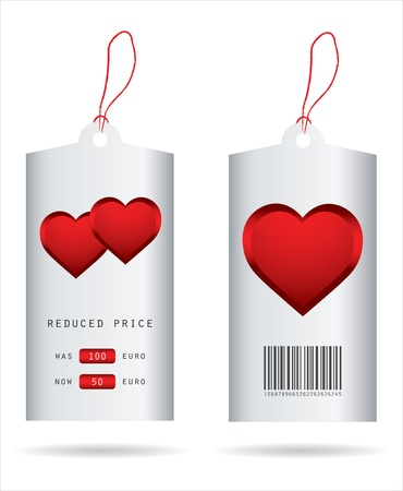 discount coupon: special price tags with valentine design Illustration