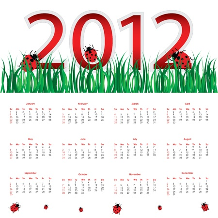special calendar for 2012 with ladybirds Stock Vector - 11920285