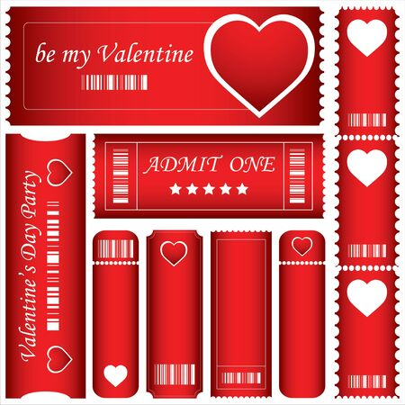 special red Valentines Day tickets Vector