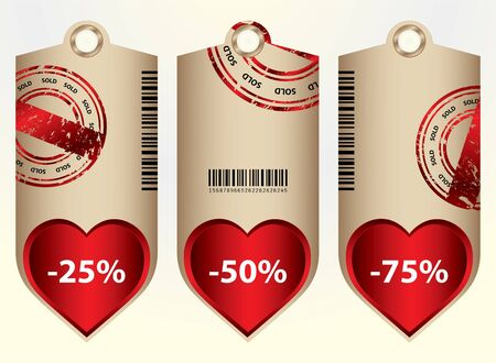 special price tags with valentine design Vector