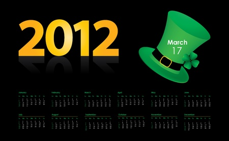 four leafed: special calendar with St. Patrick Illustration