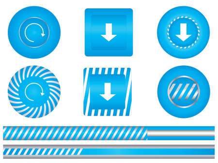 Set of special blue download buttons Vector
