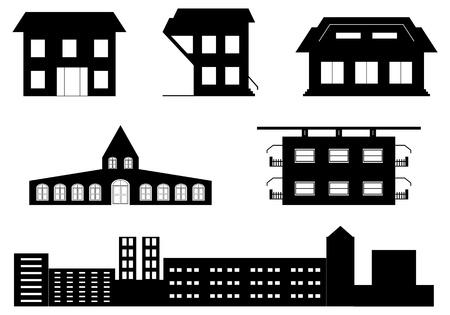 사무실 건물: 특수 건물의 벡터 설정 일러스트