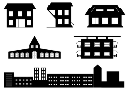 apartment building: vector set of special buildings