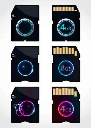 cf: speciale card design di memoria SD con i lati anteriore e posteriore