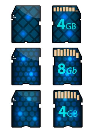 cf: di memoria SD card design con i lati anteriore e posteriore