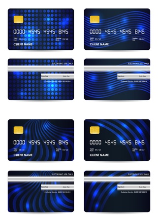 special blue vector credit card set, front and back view Vector