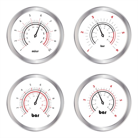 pressure gauge: Set of manometers, isolated on white background