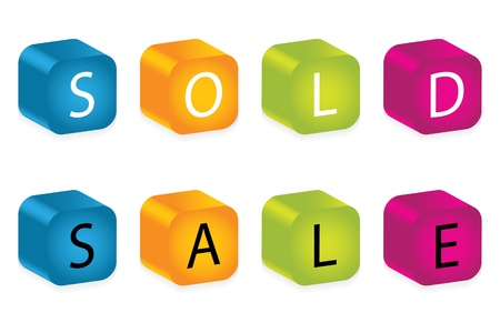 sold and sale words made by letter blocks Vector