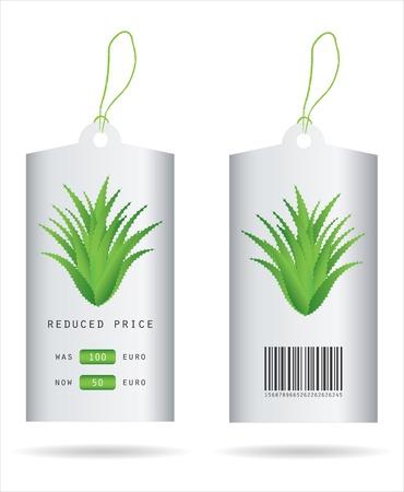 aloe vera plant: special price tag with aloe vera design Illustration