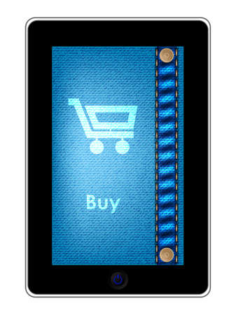 tablet pc with a shopping cart on jeans backgound Vector