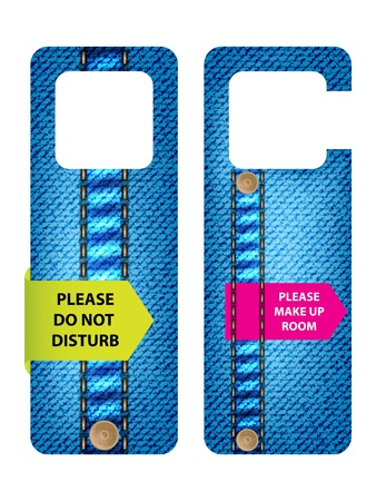 hotel do not disturb door hanger with special jeans design Vector