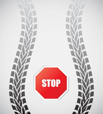 special tire track with stop sign Stock Vector - 14304438