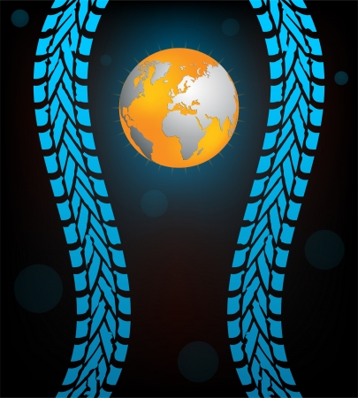 special black tire track background with globe Vector