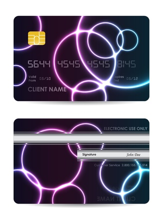 Realistic credit card, front and back view Vector