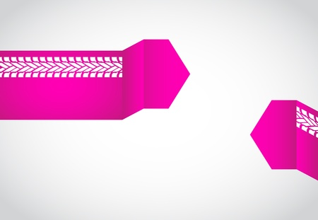 special pink origami speech bubble with tire design Vector