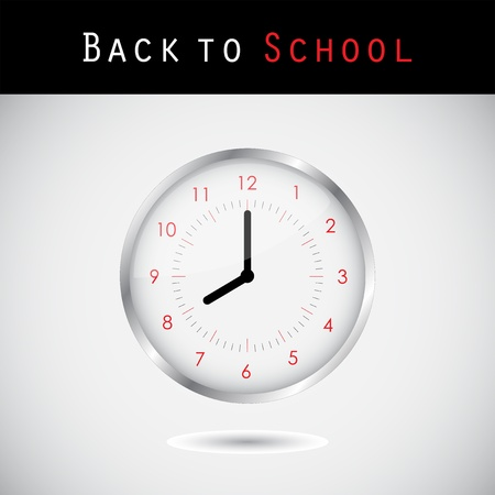 Back to school background with a clock Vector
