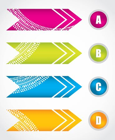 special arrow stickers with tire design Vector