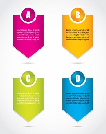 istruzione: carta progressi etichette prodotto scelta o versioni con design speciale Vettoriali