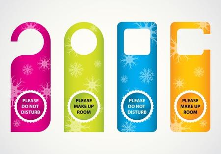 verst�ren: Hotel nicht st�ren T�rschild mit speziellen Weihnachts-Design Illustration
