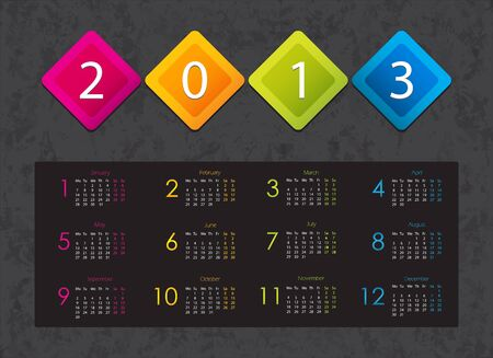 colorful 2013 calendar with special design Stock Vector - 15333935