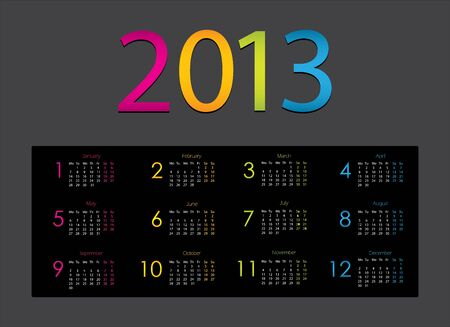 colorful 2013 calendar with special design Stock Vector - 15333930