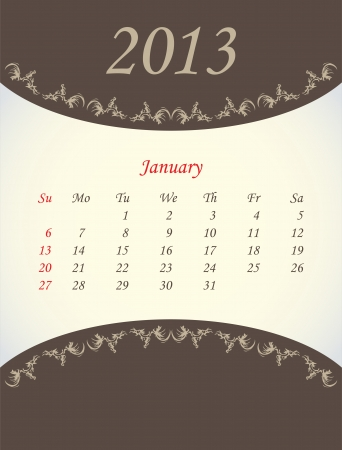 calender for 2013 - january Vector