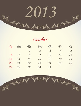 calender for 2013 - october Stock Vector - 15562208