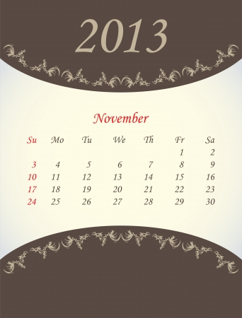 calender for 2013 - november Stock Vector - 15562211