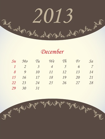 calender for 2013 - december Stock Vector - 15562213
