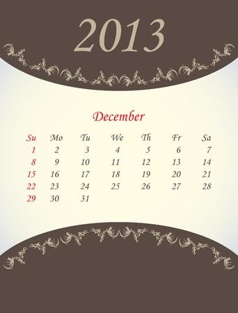 calender for 2013 - december Stock Vector - 15562213